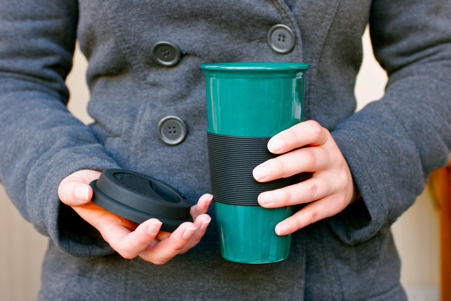 Travel Mug With Sleeve and Lid - Emerald Teal Green - Coffee Or Tea Winter Gift - Hand Painted -  Made To Order - GrayDecember