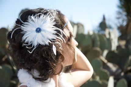 CUSTOM Fascinator Hair Clip Feather Flower Vintage Rhinestone Wedding Bridal Bridesmaids White