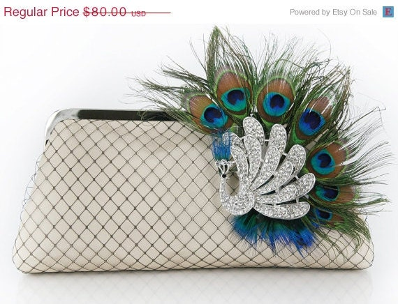 Champagne Clutch with Peacock Feather Rhinestone Brooch 8-inch PEACOCK PASSION