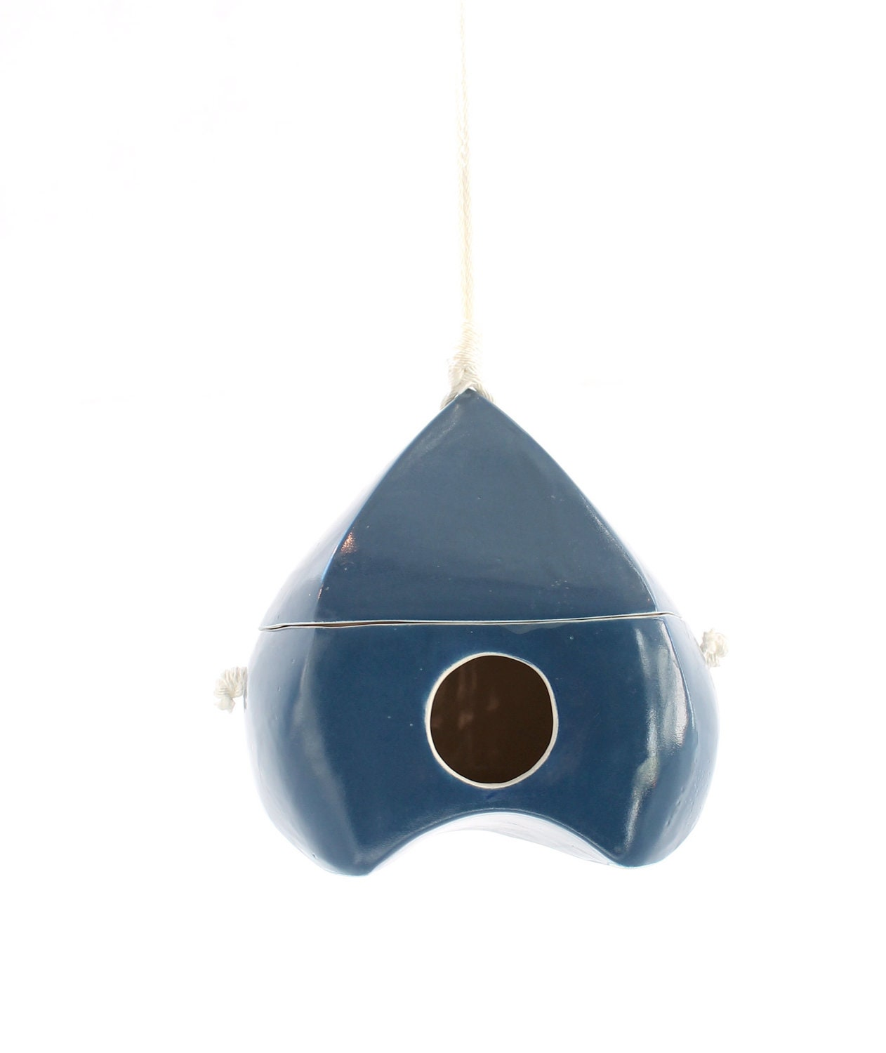 Navy Blue Porcelain Bird House - LandMstudio