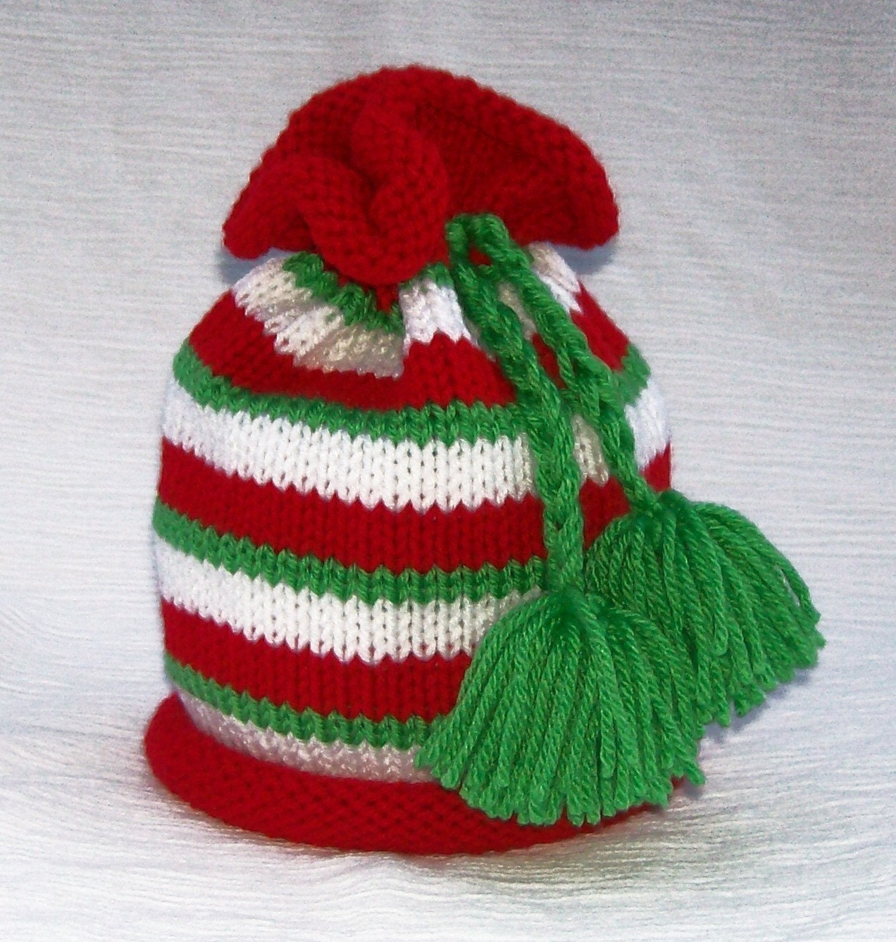 Santas Little Helper Striped Elf Hat with Green Pom Poms Great Photography Prop sized to fit Newborn Infants and Babies