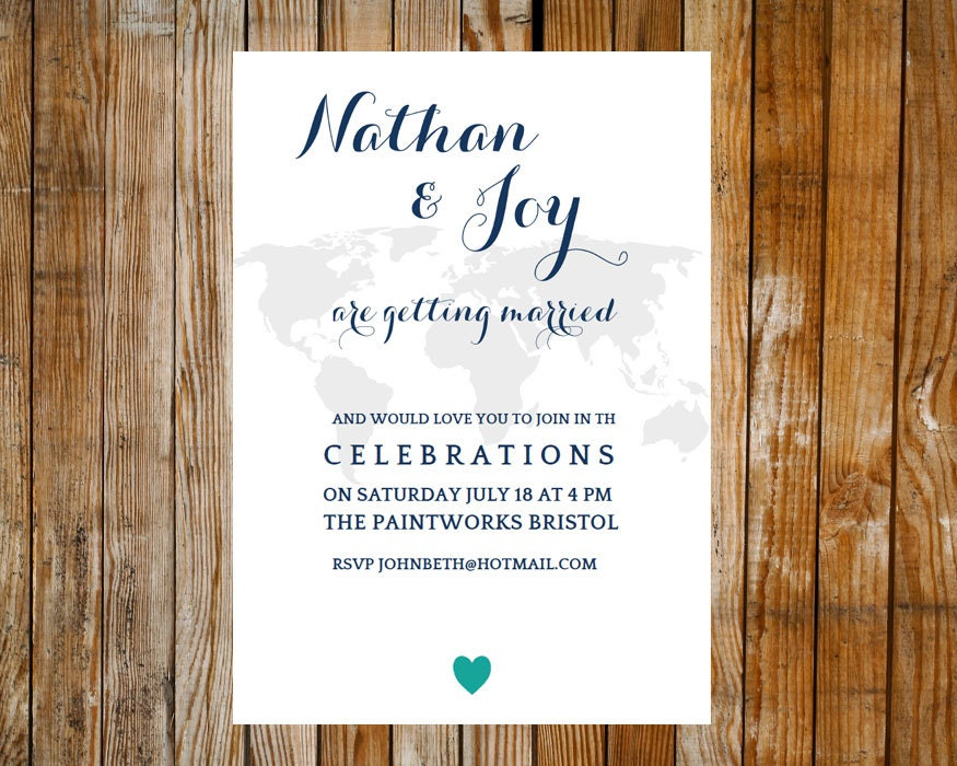Printable Wedding Invitation Travel  DOWNLOAD PRINTABLE Microsoft word DIY wedding wedding stationery teal invite travel invite