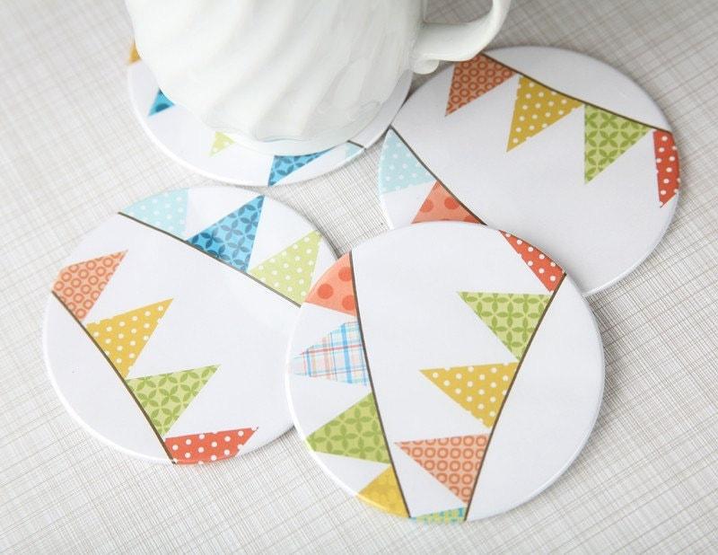 Handmade Coasters Set of 4 Bunting Love