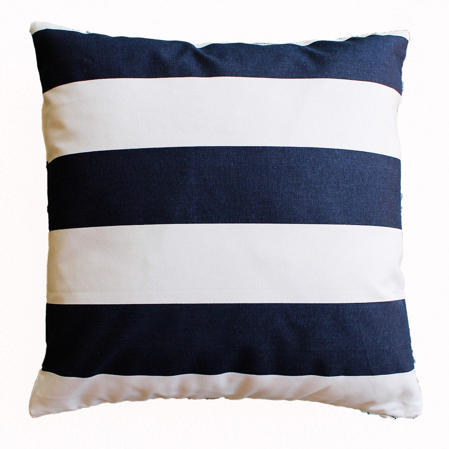 Navy And White Striped Throw Pillow : Navy and White Striped Pillow Cover 18 x 18 by TheLinenHouse