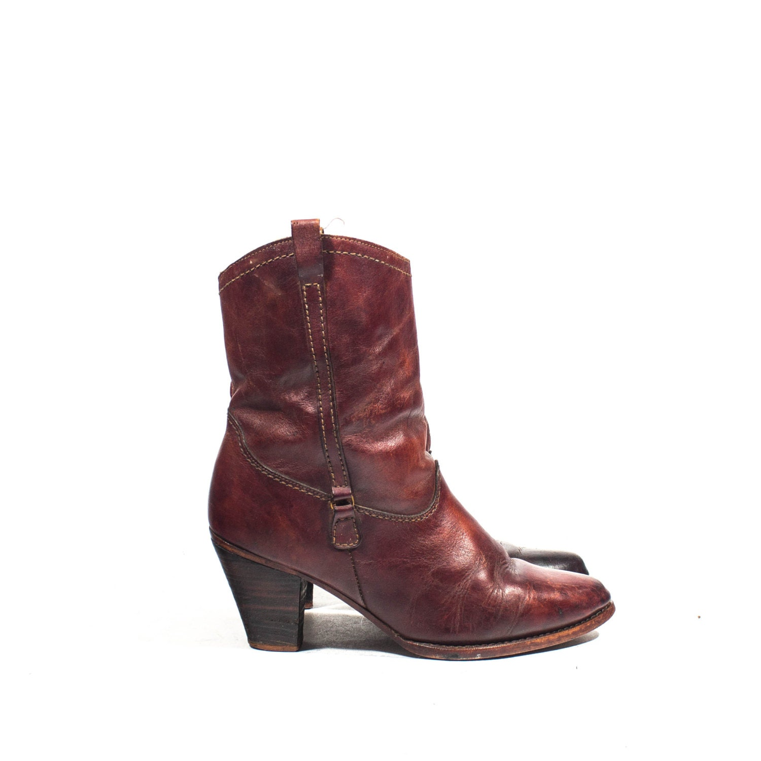 vintage heel ankle boots in burgundy by