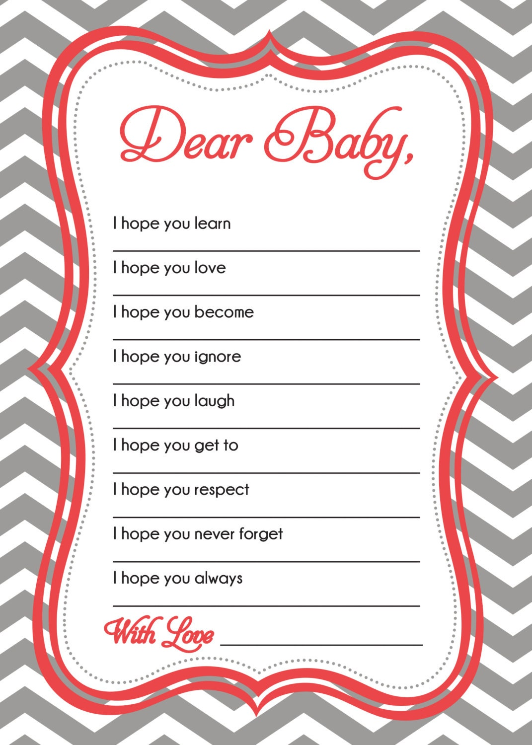 wishes for baby card baby shower game by sldesignteam on etsy