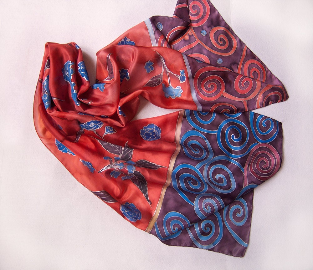 Hand painted silk scarf  Flowers and Spirals in fiery red FREE  SHIPPING