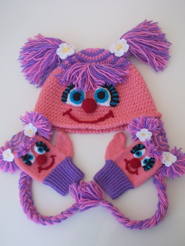 Abby Cadabby  Hat and gloves -Crochet Baby  Hat and gloves  - for Baby or Toddler