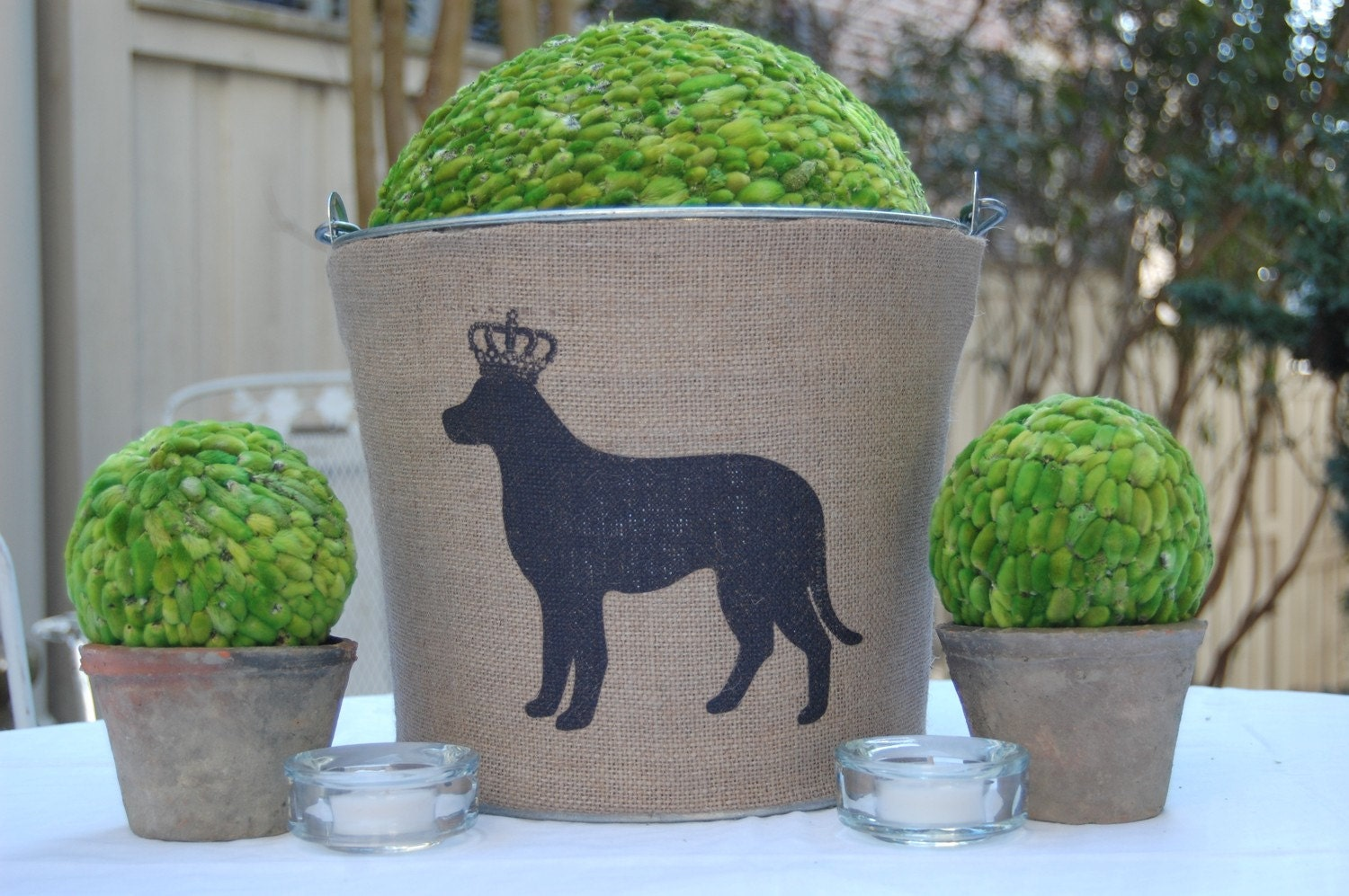 Custom Burlap Covered Galvanized Bucket Pail with Black Lab......OR monogram for wedding OR home....Unique hostess or birthday gift.