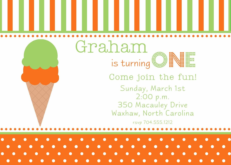 Green and Orange Ice Cream Invitation