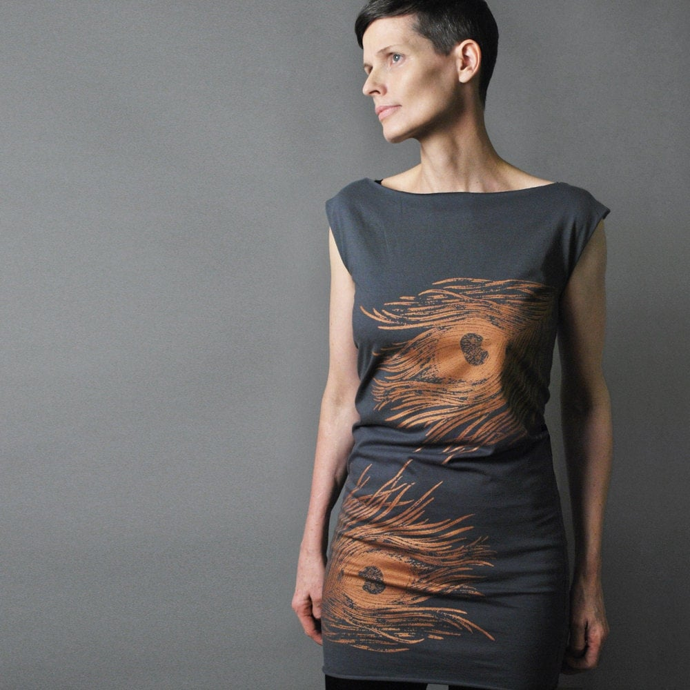 For Her - Party Dress - Peacock Feather - Metallic Copper Rust Feather Print - Day to Night - sealmaiden