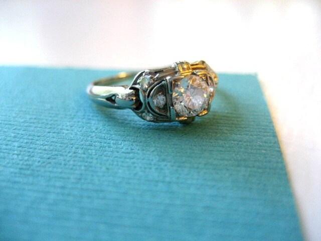 Vintage Art Deco Engagement Ring Set