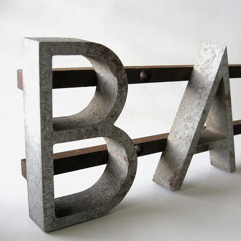Metal Bank Sign Architectural Urban Salvage Graphic