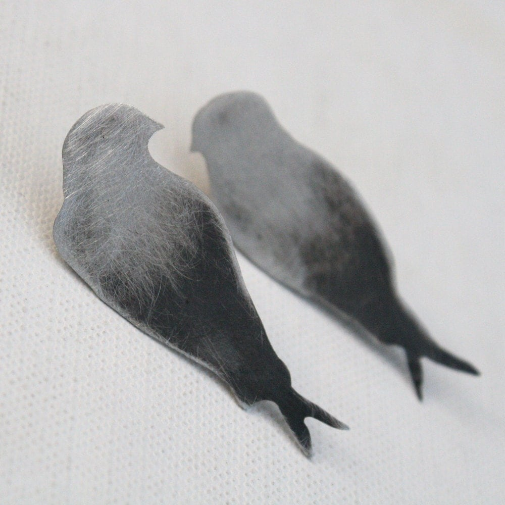 bird earrings swallow stud earrings woodland creatures large quirky earrings - LolaAndCash