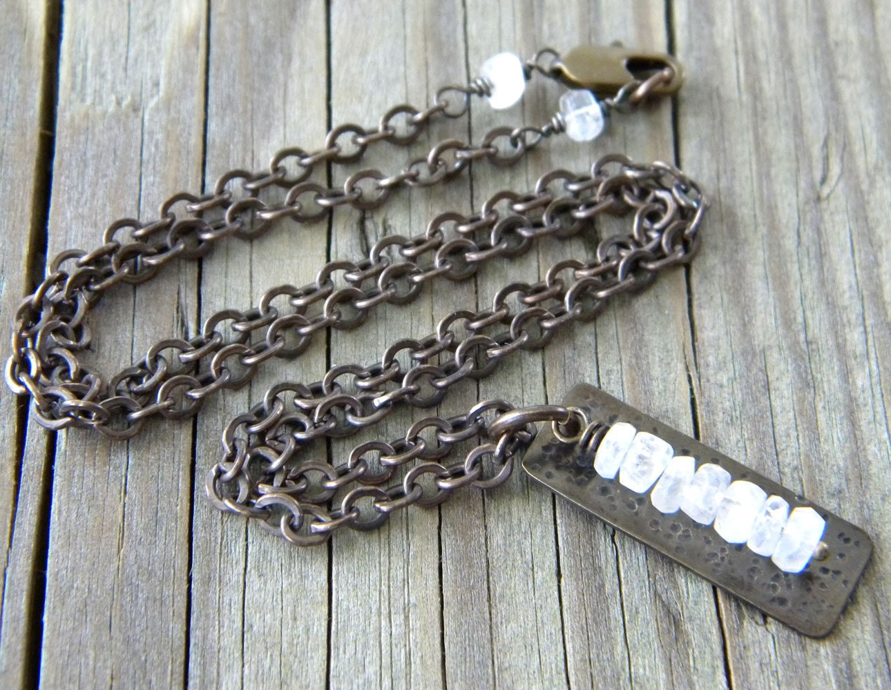 Rustic Hammered Antiqued Brass Rectangle - Moonstone Necklace