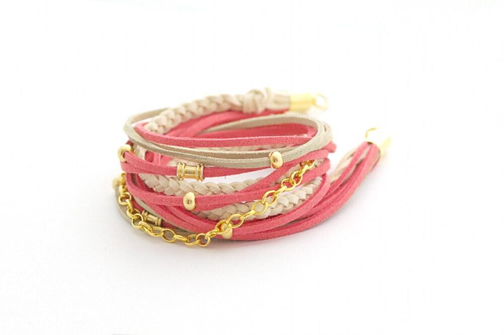 Coral Beige Wrap Bracelet, Leather wrap, Boho bracelet, suede, double wrap, boho chic - cardioceras