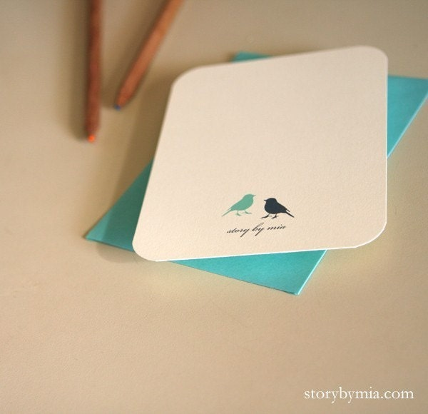 Personalized notecards - blue robin