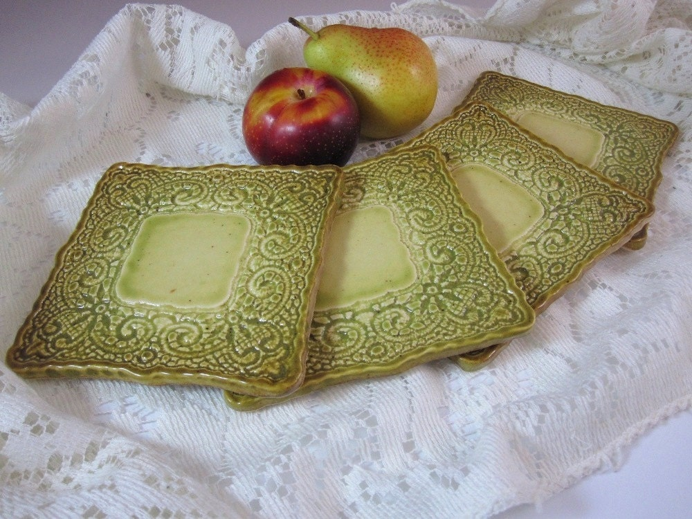 Handmade Ceramics - Lacework Coasters - Artichoke - LaceworkCeramics