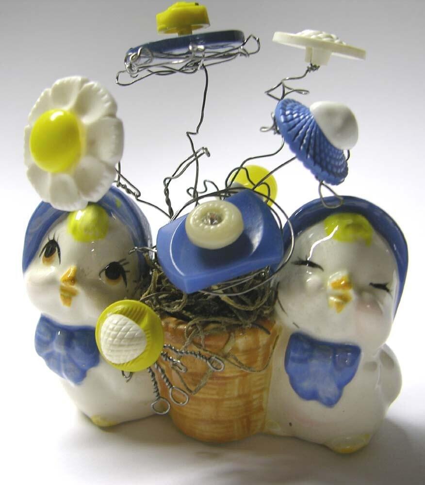 Искусство переработки ...  VINTAGE Chicks и кнопки Зубочистка держатель Прихоть