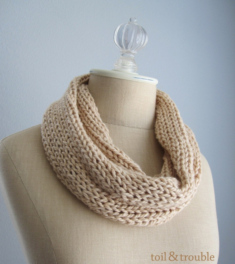 The Neckloop - Handknit Fiber Art Infinity Scarf - Organic Cotton in Nude Sand - Ready to Ship