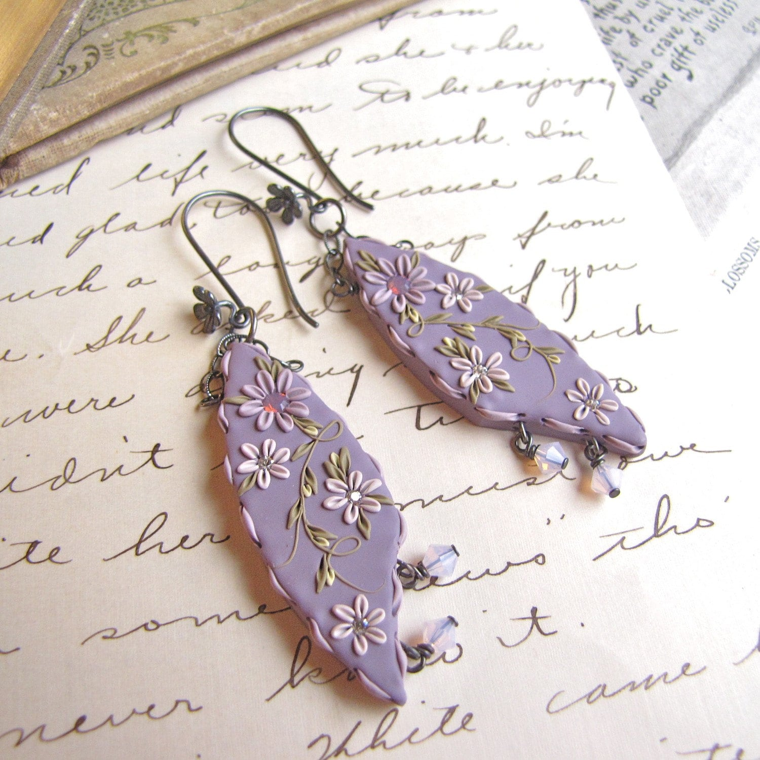 Lavender Blooms Dangling Earrings