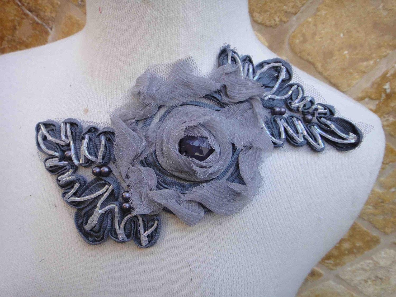 Симпатичные бисером цветок аппликация 1 шт листинга серого цвета