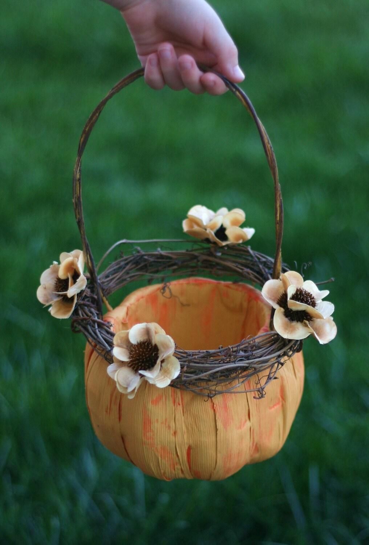 Pumpkin Flower Girl Basket Rustic Fall Wedding (item B10354) - braggingbags