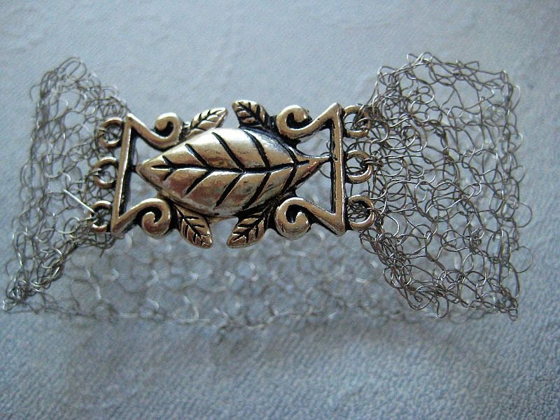 Knitting Patterns For Premature Baby Clothes : Items similar to Knitted wire jewelry -A Cuff bracelet with knitted silver wi...