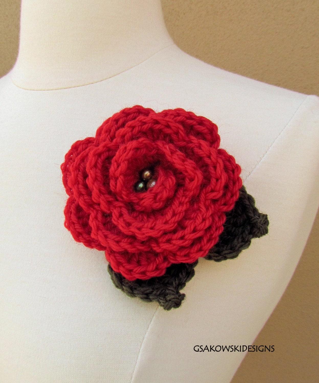 Rose Brooch-Red
