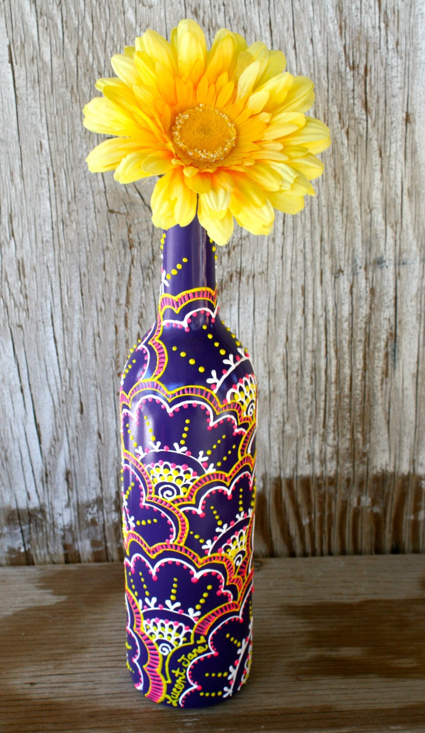 Spring sale hand painted wine bottle vase brightly by for Purple wine bottles for sale