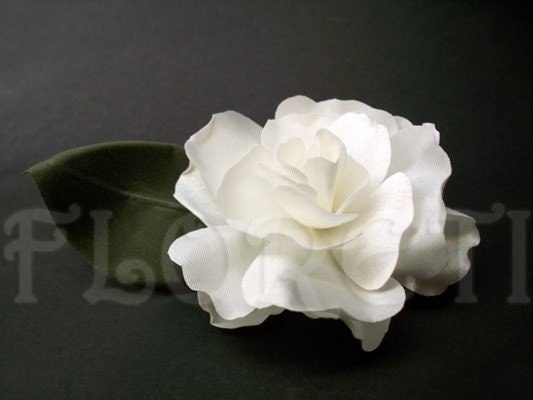 Bridal White Silk Abstract -Impressionist Magnolia Hair Accessory Handmade Wedding Floral Pin-up Flower from etsy.com