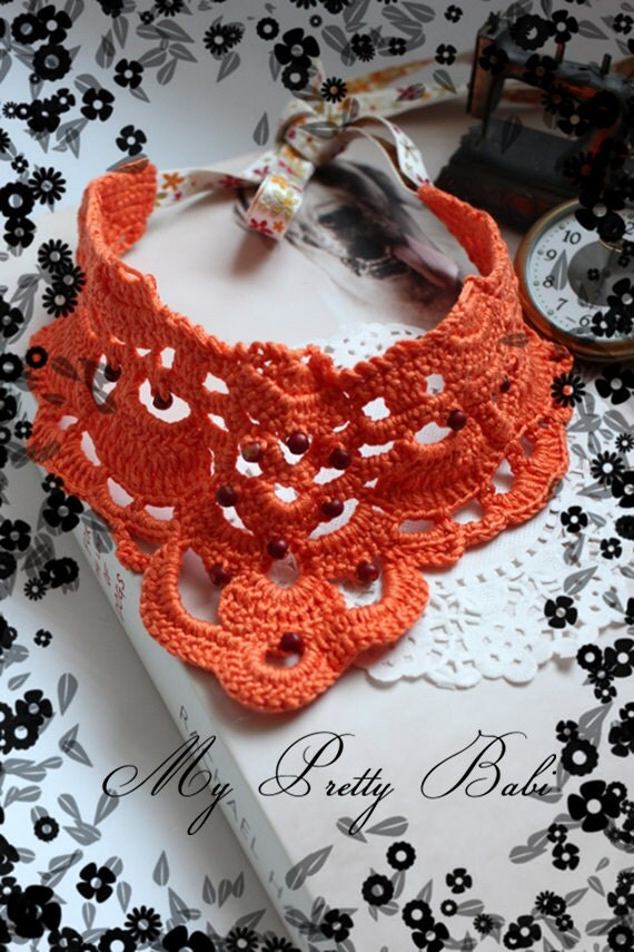 Crochet Necklace Crochet Collar Statement Necklace