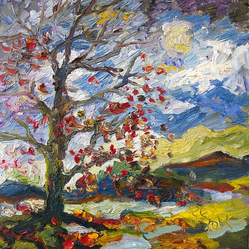 Impressionist Red Leaves falling Autumn Tree 12 by 12  Original Oil Painting Palette Knife by Ginette