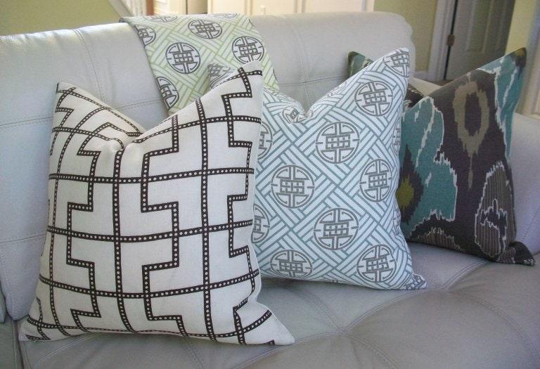 Decorative Designer Pillow Cover - 18X18 - Celerie Kemble Bleecker print in Bear