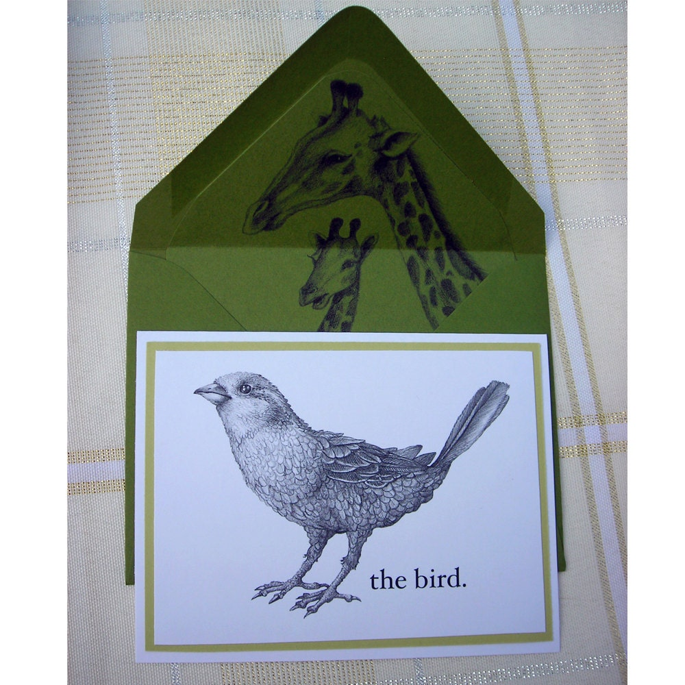 Set of 4 Notecards The Bird in Green Giraffe Liner