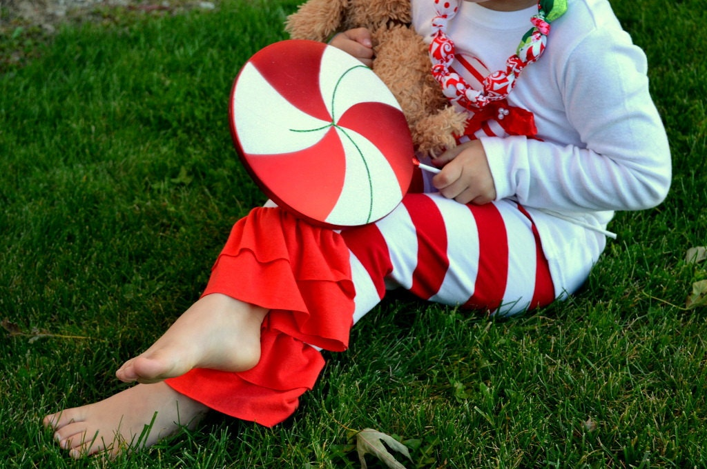 Fun & Chic Red and white stripe peppermint double ruffle leggings