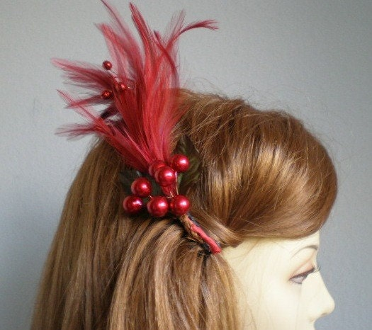 Vintage Inspiried Red Feather Fascinator Hair Comb