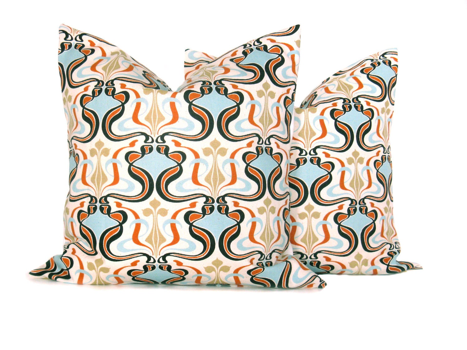 Accent Pillows Orange and Blue Mod Covers Set of by EastAndNest