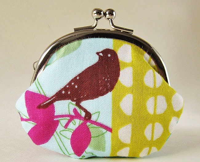 RESERVED for Betsy3 (coin purse - bird and dots on chartreuse)