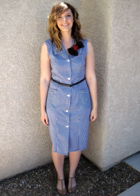 Upcycled striped sheath dress with glitter dot bow and rosette