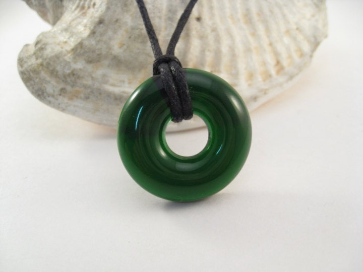 Recycled Glass Donut Pendant - Green