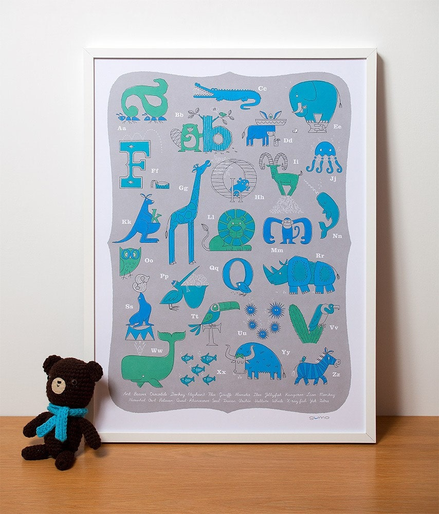 Animal ABC Lithograph 50 x 70 in turquoise, teal and blue printed on recycled paper