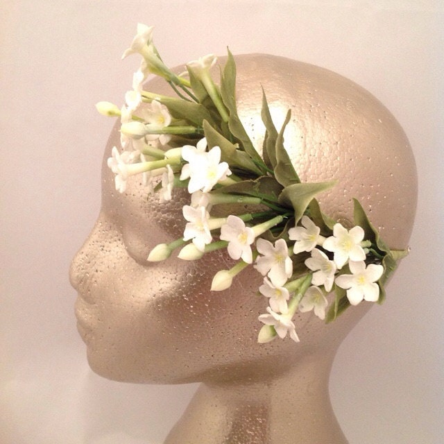 Bridal Headband Bridal Headpiece Bridesmaid Flower Wedding headpiece Stephanotis Flower Headpiece Bridal hair accessory