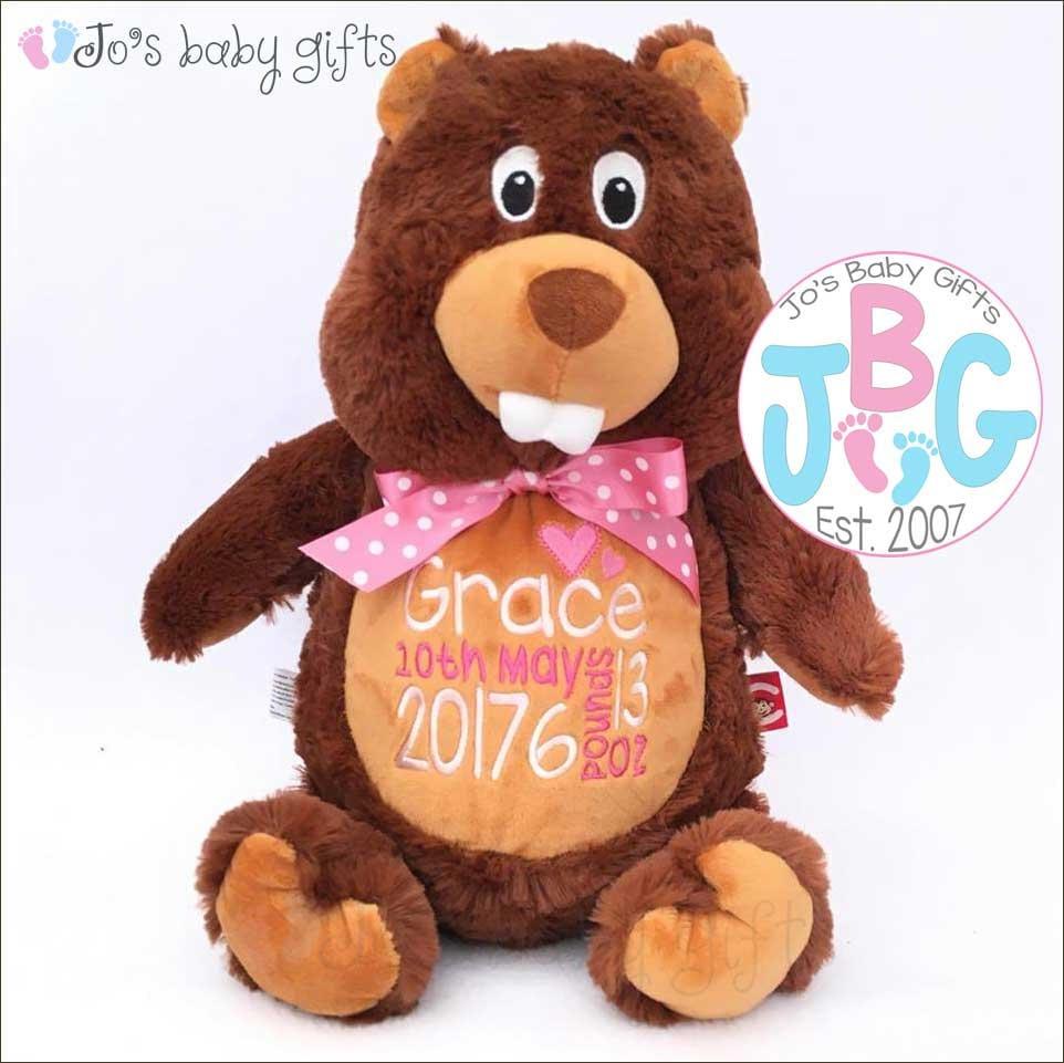 Personalised Beaver Teddy Bear Embroidered Custom Cubbies Girls or Boys birthday Gift Beaver Cubby Teddy