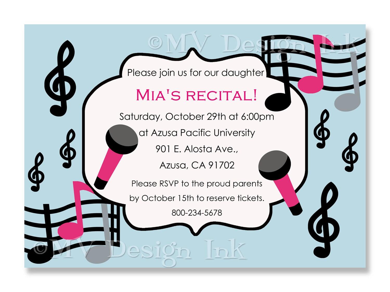 Music Recital Invitation Musical Birthday Party by MVDesignInk