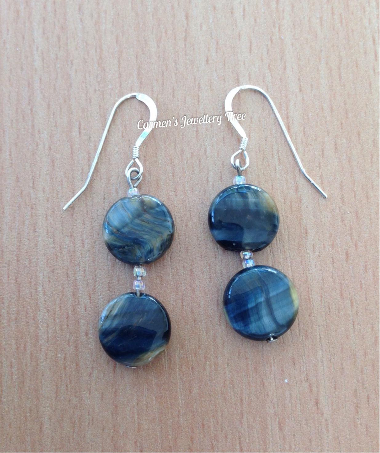 Earrings, HAWKs EYE, Sterling Silve hooks, Gift for Her, Gemstone Jewellery