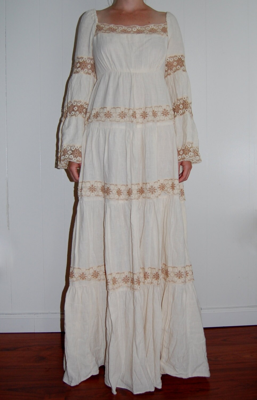 ... Boho Gauze & Lace Dress - Peasant Festival Maxi Wedding Hippie Prairie