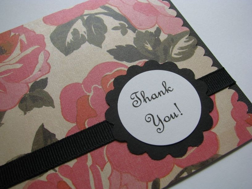 glam pink and rosy thank you card