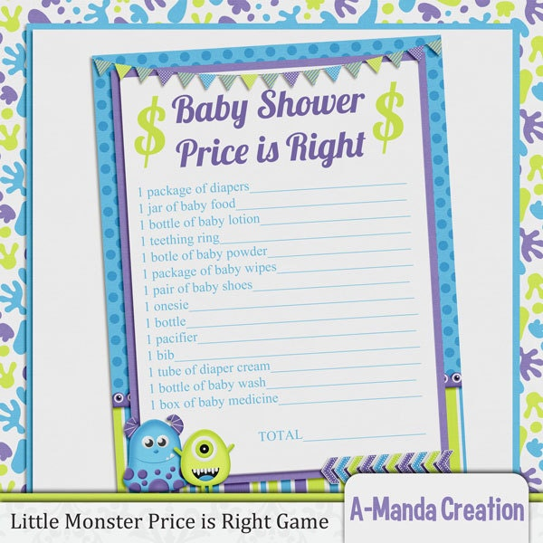 little monster price is right baby shower game by amandacreation