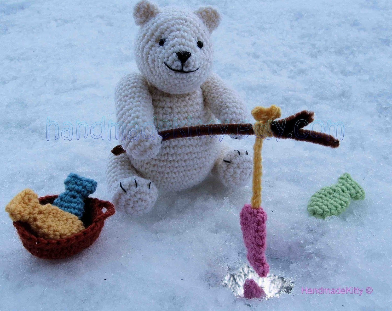 Polar Bear Out Fishing Amigurumi PDF Crochet Pattern by HandmadeKitty